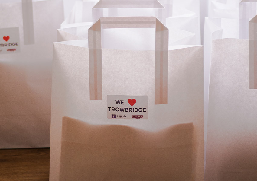 Gifts bags full of sweets, toys and Bible passages to give out to the community of Trowbridge